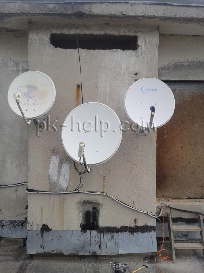 Фото Установленная спутниковая тарелка