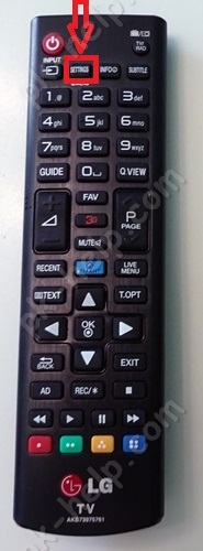 Фото кнопка Настройки на пульте управления