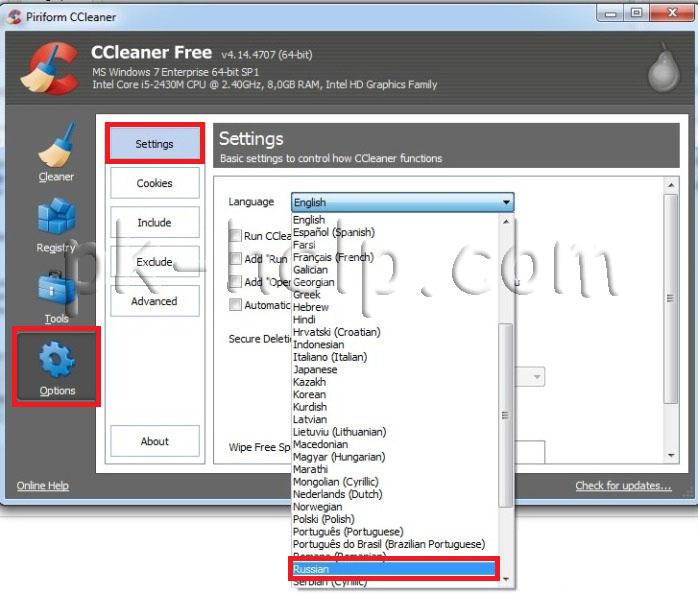 Фотография Меняем язык интерфейса CCleaner